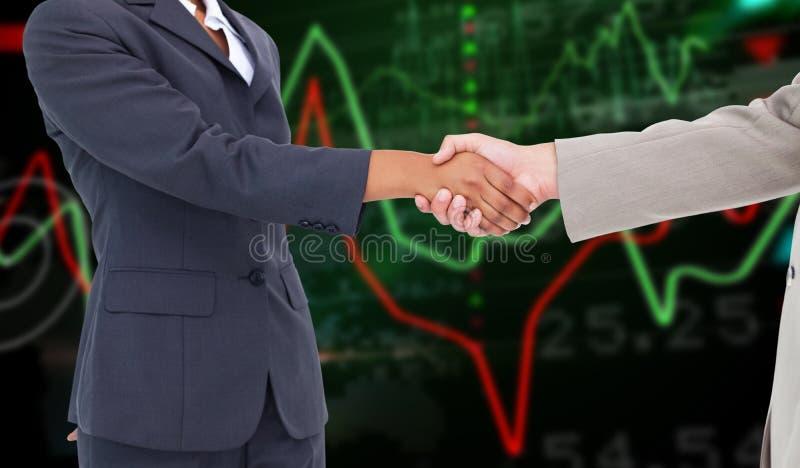 Zusammengesetztes Bild der Seitenansicht Handdes rüttelns stockbild