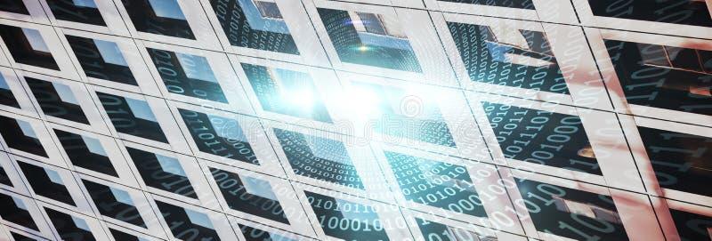 Zusammengesetztes Bild der Spirale des glänzenden binär Code lizenzfreie stockbilder