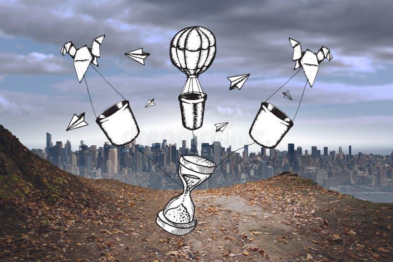 Zusammengesetztes Bild der Zeit und Heißluftballone kritzeln lizenzfreies stockfoto