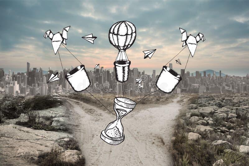 Zusammengesetztes Bild der Zeit und Heißluftballone kritzeln stockfotografie