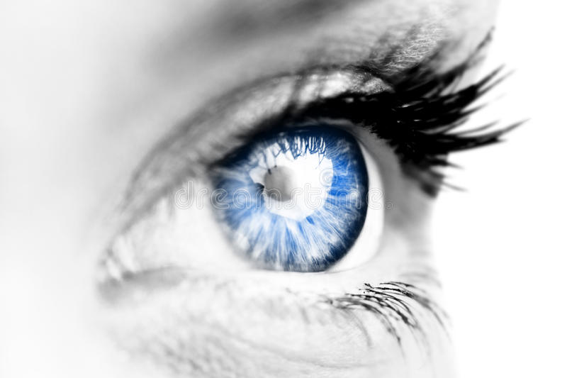 Zusammengesetztes Bild des Abschlusses oben des weiblichen blauen Auges stockfotos