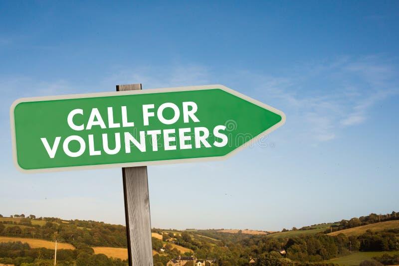 Zusammengesetztes Bild des Anrufs für Freiwillige lizenzfreie abbildung