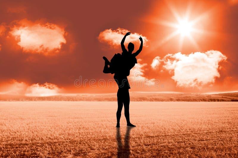 Zusammengesetztes Bild des Ballerinaausdehnens lizenzfreies stockfoto