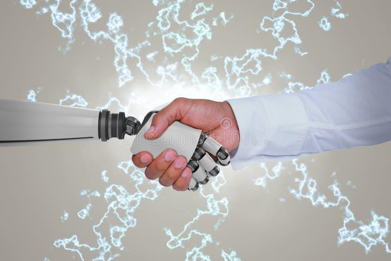 Zusammengesetztes Bild des Computergrafikbildes des Geschäftsmannes und des Roboters, die Hände rütteln stockbild