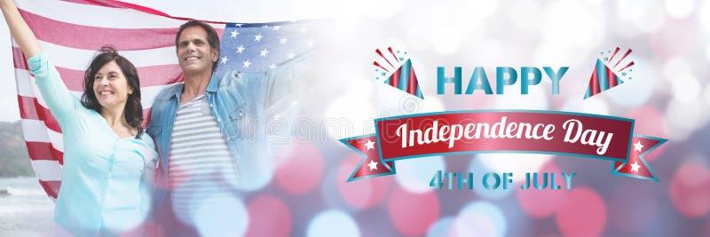 Zusammengesetztes Bild des digital erzeugten Bildes der glücklichen Unabhängigkeitstagmitteilung stock abbildung