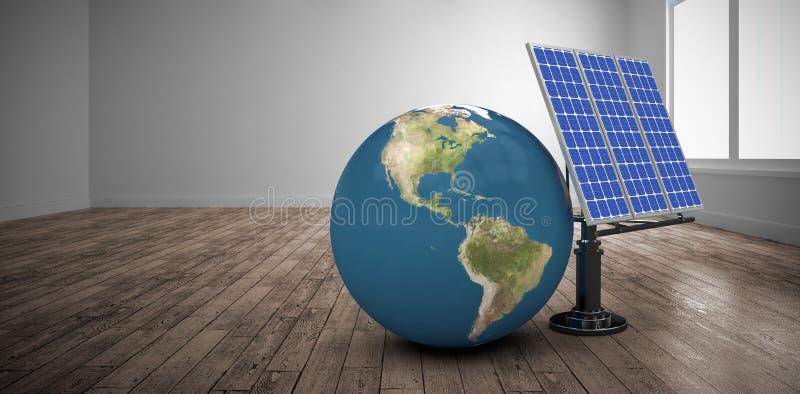 Zusammengesetztes Bild des digital erzeugten Bildes der Kugel 3d und der Solarausrüstung lizenzfreie abbildung