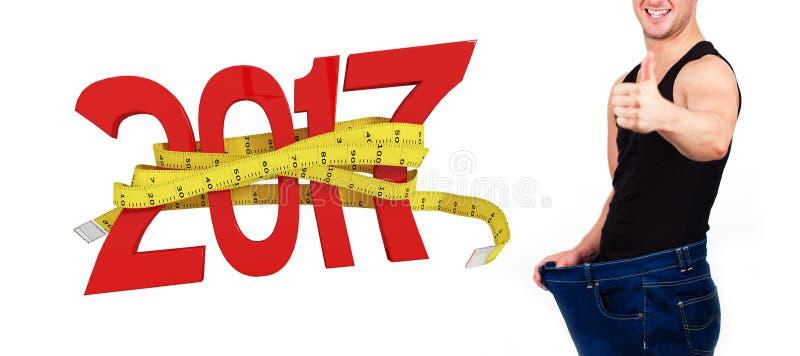 Zusammengesetztes Bild des digital erzeugten Bildes des neuen Jahres mit Maßband stockfoto