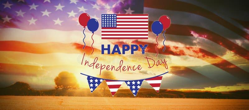 Zusammengesetztes Bild des digital zusammengesetzten Bildes des glücklichen Unabhängigkeitstagtextes stock abbildung