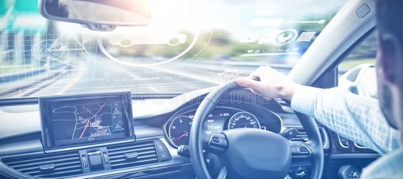 Zusammengesetztes Bild des Digitalbilds der Autos und der Werkzeuge lizenzfreie stockfotografie