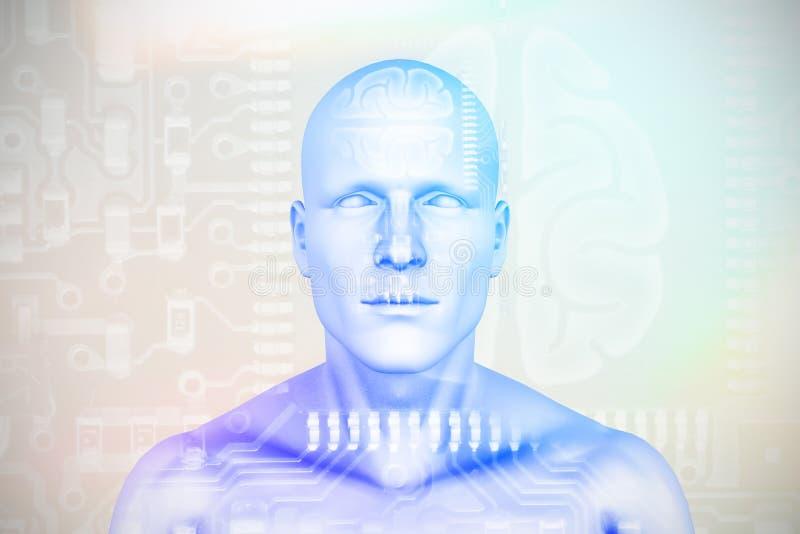 Zusammengesetztes Bild des Digitalbilds der menschlicher Figur 3D lizenzfreie abbildung