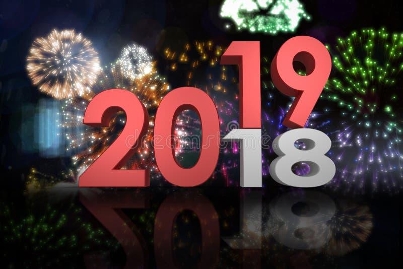 Zusammengesetztes Bild des digitalen zusammengesetzten Bildes der Zahlen, die von altem zum neuen Jahr ändern stockbild