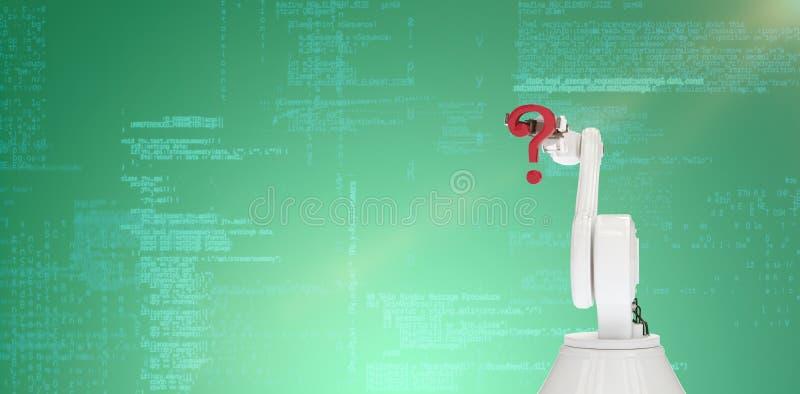 Zusammengesetztes Bild des digitalen zusammengesetzten Bildes des Roboterarmholding-Fragezeichens 3d stockfotografie