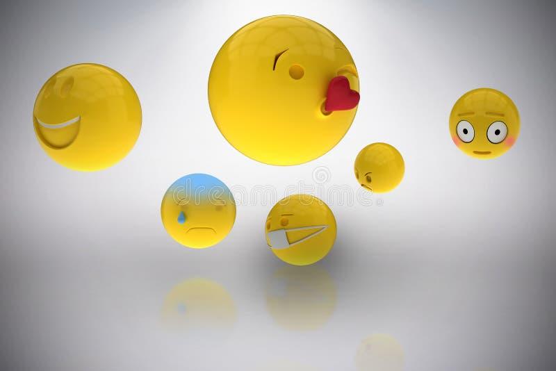 Zusammengesetztes Bild des dreidimensionalen Bildes der grundlegenden Emoticons 3d stock abbildung