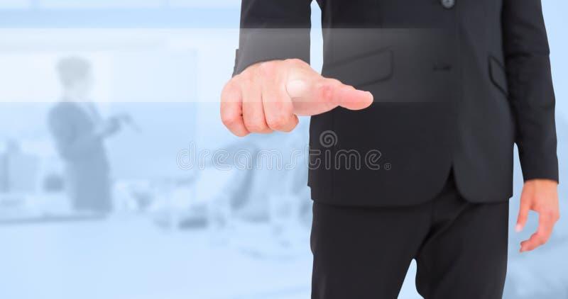 Zusammengesetztes Bild des Geschäftsmannes zeigend mit dem Finger lizenzfreies stockbild