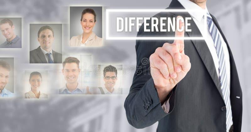 Zusammengesetztes Bild des Geschäftsmannes zeigend mit seinem Finger lizenzfreie stockfotos
