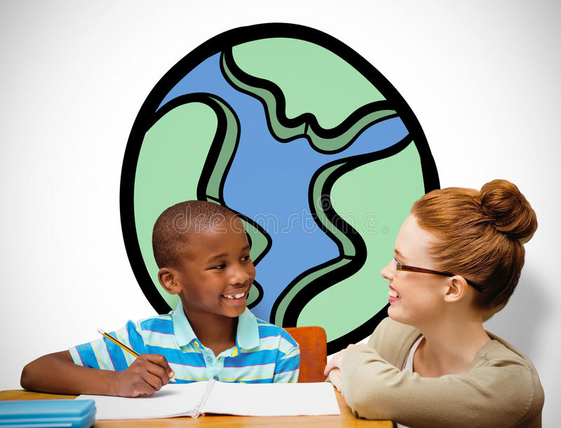 Zusammengesetztes Bild des glücklichen Schülers und des Lehrers stockbilder