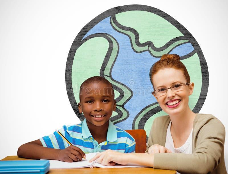 Zusammengesetztes Bild des glücklichen Schülers und des Lehrers lizenzfreie stockbilder