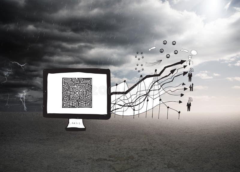 Zusammengesetztes Bild des Labyrinths auf Bildschirm mit Pfeilen kritzeln stockbild