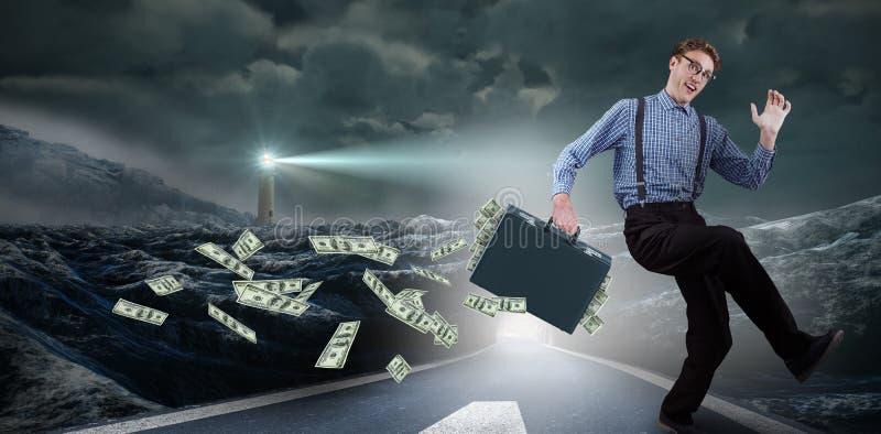 Zusammengesetztes Bild des laufenden Geschäftsmannes stockfoto