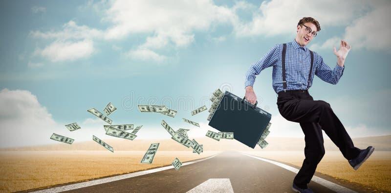 Zusammengesetztes Bild des laufenden Geschäftsmannes stockfotos