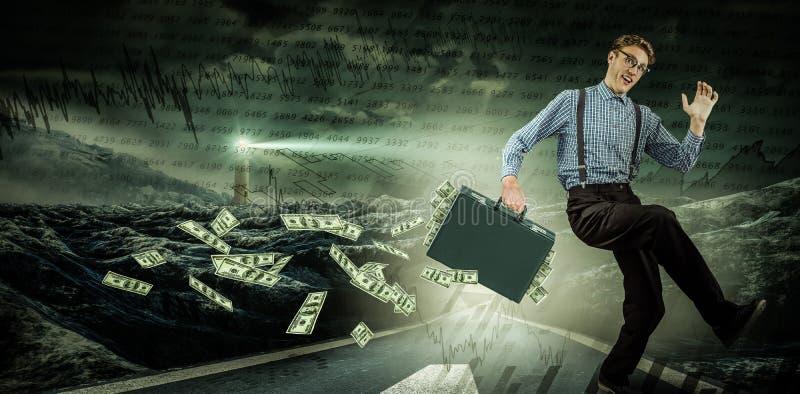 Zusammengesetztes Bild des laufenden Geschäftsmannes stockfotografie
