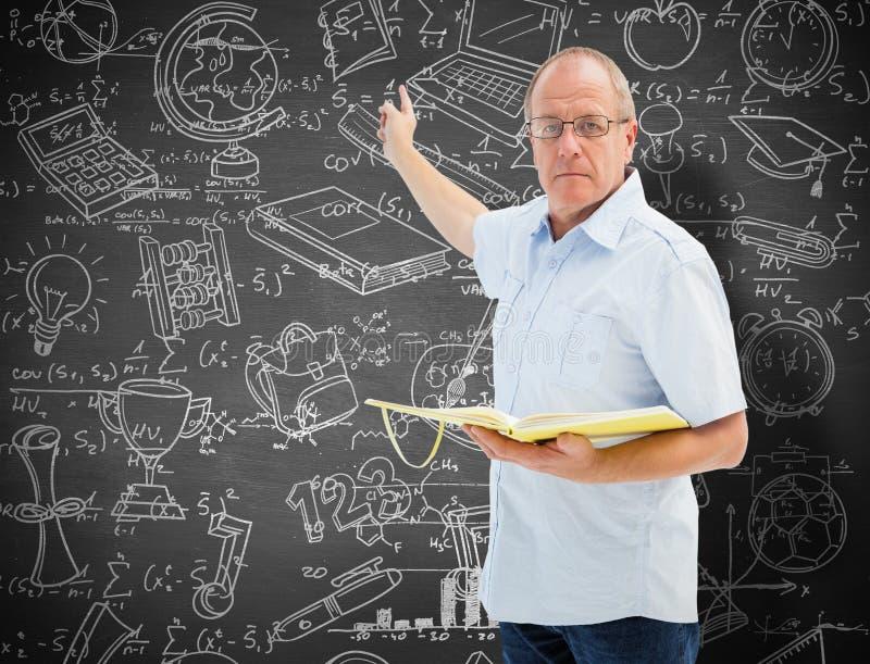 Zusammengesetztes Bild des Lehrers Buch und das Zeigen halten lizenzfreies stockbild