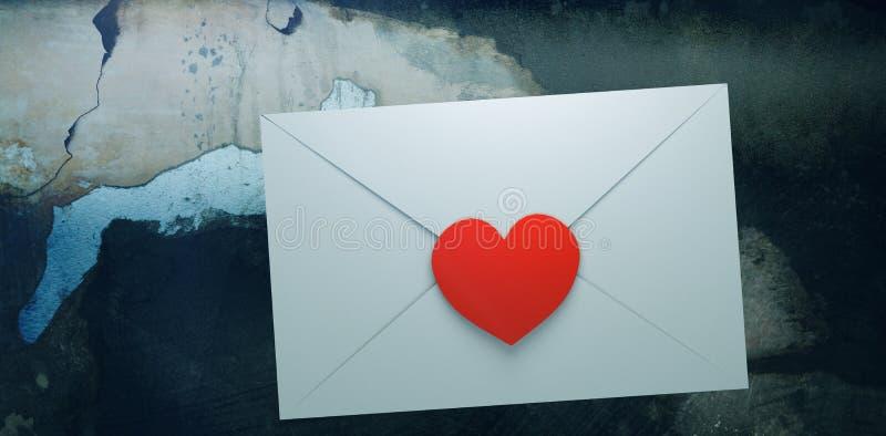 Zusammengesetztes Bild des Liebesbriefs lizenzfreie abbildung