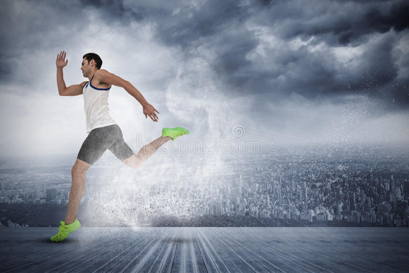 Zusammengesetztes Bild des männlichen Athleten laufend auf weißem Hintergrund lizenzfreies stockbild