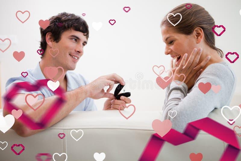 Zusammengesetztes Bild des Mannes einen Antrag von der Heirat machend stock abbildung