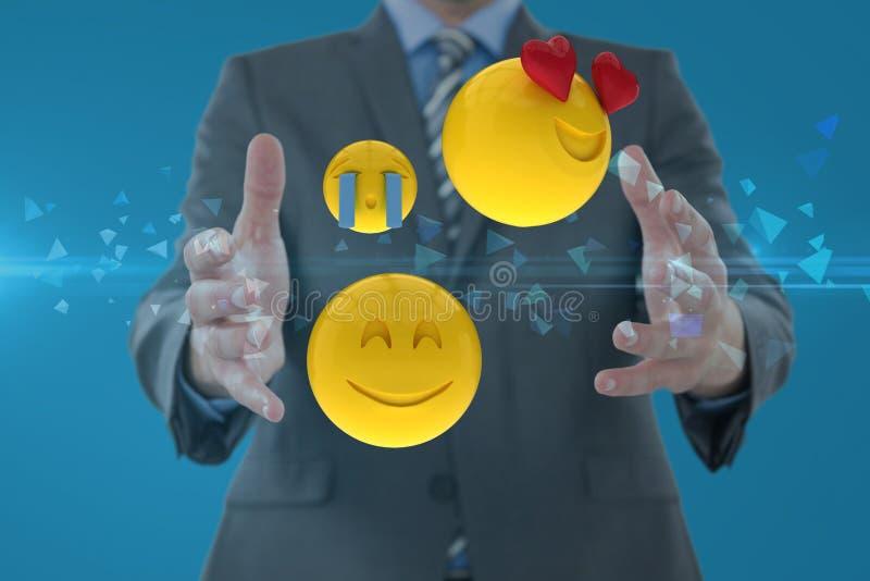 Zusammengesetztes Bild des Mannes und der smiley in 3d stock abbildung