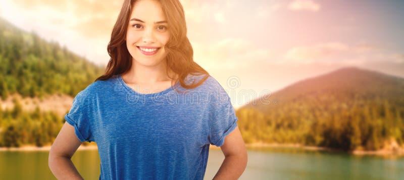 Zusammengesetztes Bild des Porträts des schönen Modells mit dem langen braunen Haar lizenzfreies stockfoto