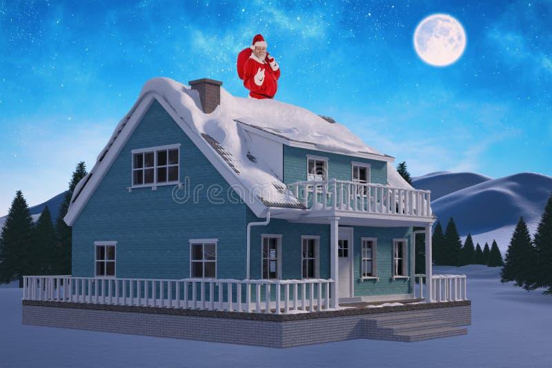 Zusammengesetztes Bild des Porträts von Weihnachtsmann zeigend beim Tragen der Weihnachtstasche lizenzfreie stockfotografie