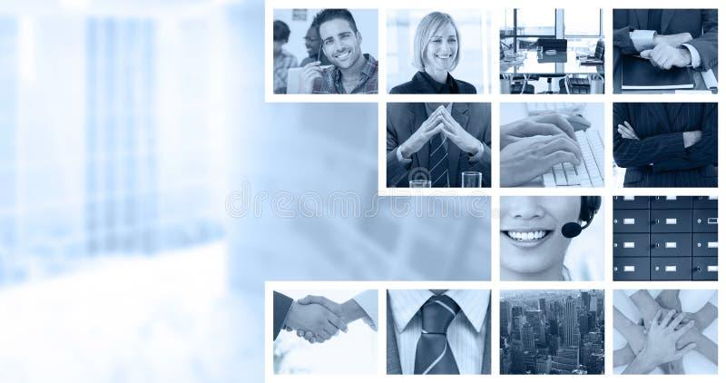 Zusammengesetztes Bild des Rüttelns überreicht Augengläser und -tagebuch nach Geschäftstreffen lizenzfreies stockbild