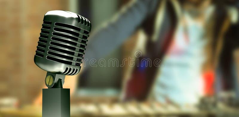Zusammengesetztes Bild des Retro- Mikrofons stockfotos