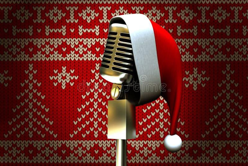 Zusammengesetztes Bild des Retro- Mikrofons mit Sankt-Hut vektor abbildung