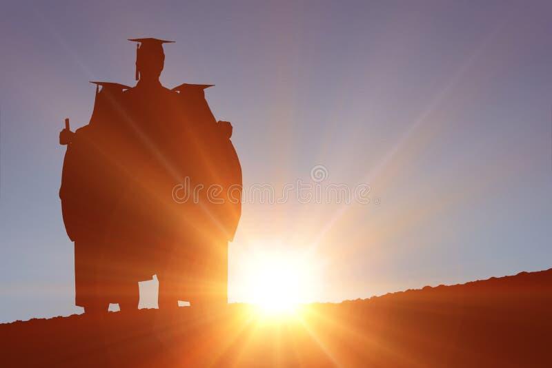 Zusammengesetztes Bild des Schattenbildes des Absolvent stockfotografie