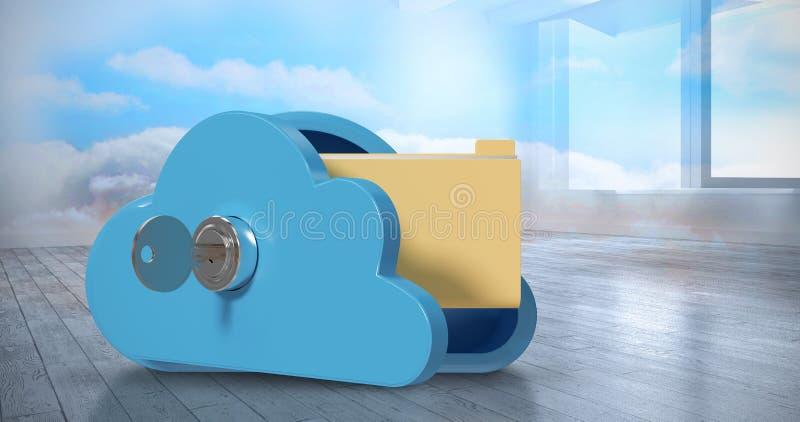 Zusammengesetztes Bild des Schließfachs in der Wolkenform mit Ordner 3d lizenzfreies stockbild
