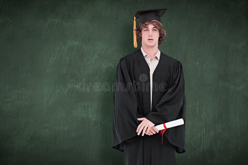 Zusammengesetztes Bild des Studenten in der graduierten Robe stockbilder