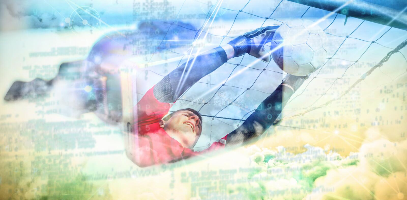 Zusammengesetztes Bild des Torhüters im Rot, das bis Abwehr ein Ziel springt stock abbildung