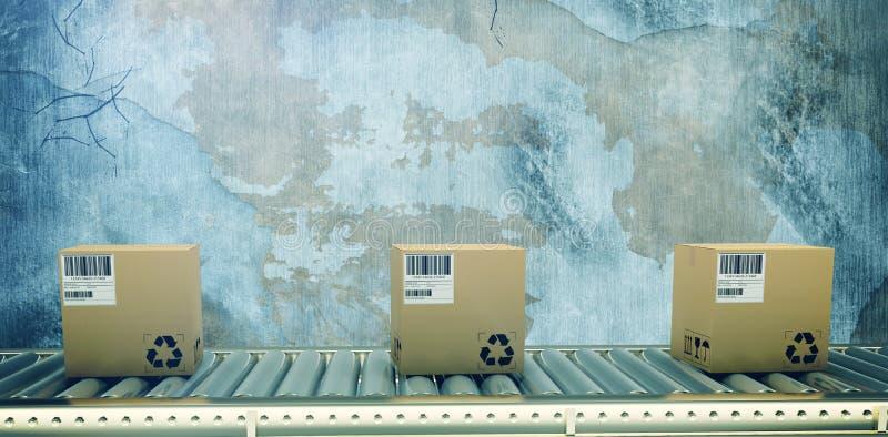 Zusammengesetztes Bild des verpackten Kuriers auf Förderband stock abbildung