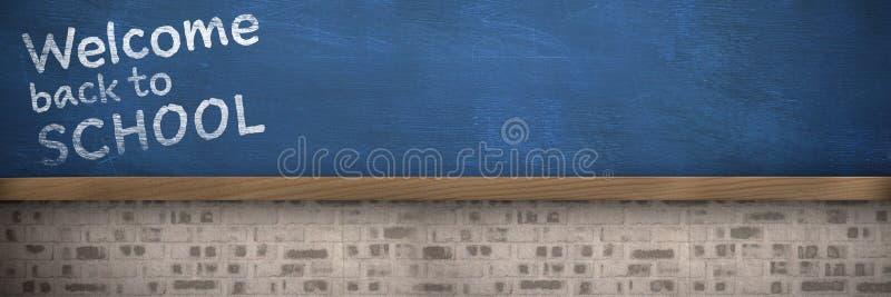 Zusammengesetztes Bild des Willkommens zurück zu Schultext gegen weißen Hintergrund stock abbildung
