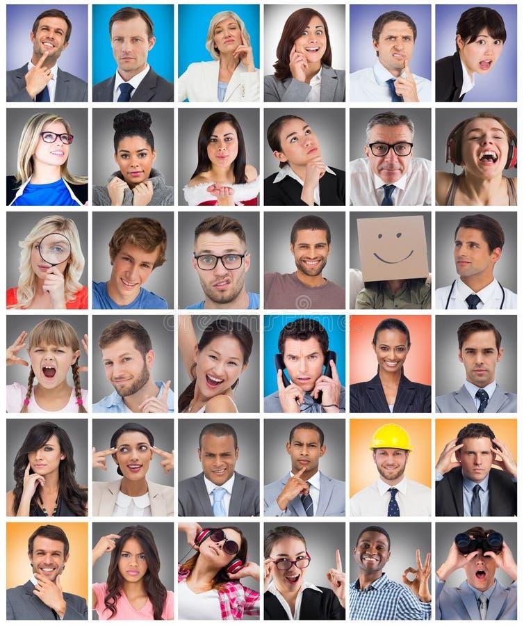 Zusammengesetztes Bild des zusammengesetzten Bildes überraschten Geschäftsmann looki lizenzfreie stockbilder
