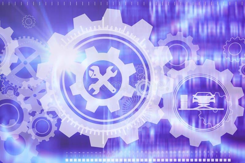 Zusammengesetztes Bild des zusammengesetzten Bildes der Autowerkzeuge stock abbildung