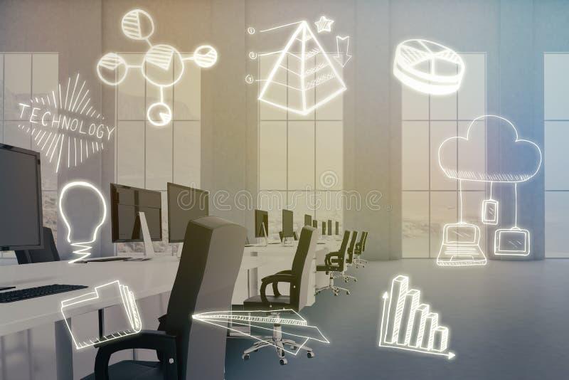 Zusammengesetztes Bild des zusammengesetzten Bildes der Computerikonen auf weißem Hintergrund 3d stock abbildung
