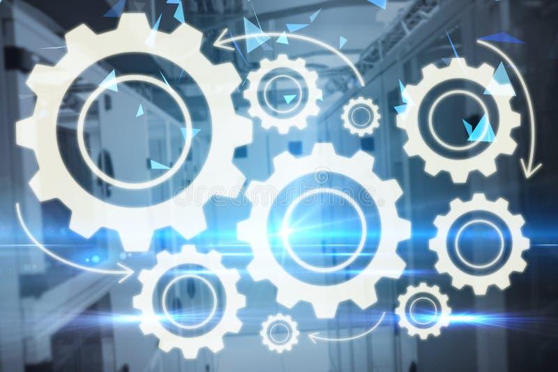 Zusammengesetztes Bild des zusammengesetzten Bildes der Gänge auf weißem Hintergrund 3d vektor abbildung