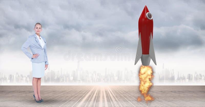 Zusammengesetztes Bild Digital des bereitstehenden Raketenstarts der Geschäftsfrau gegen Stadt lizenzfreie abbildung