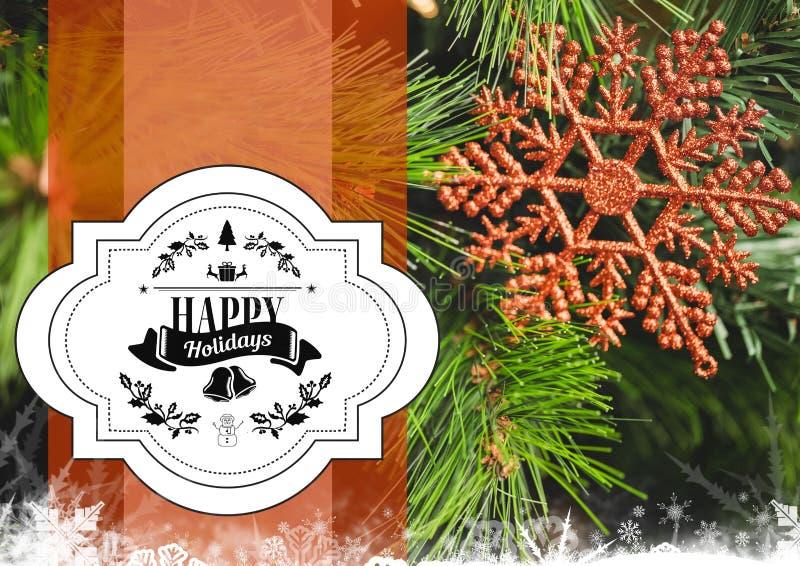 Zusammengesetztes Bild Digital frohe Feiertage der Mitteilung gegen Weihnachtsdekoration lizenzfreie abbildung