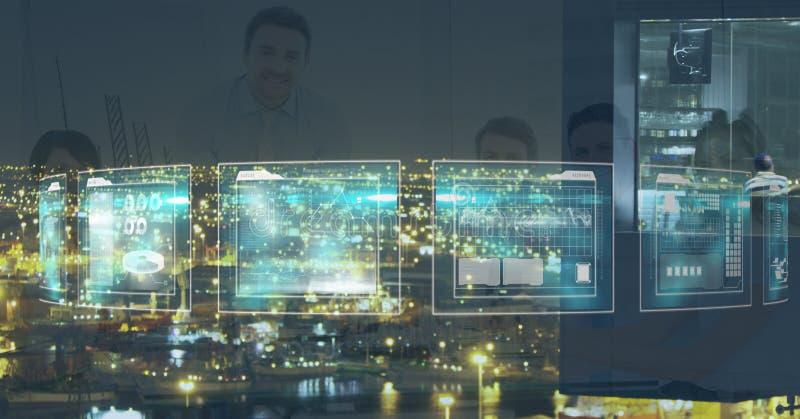 Zusammengesetztes Bild Digital von den Geschäftsleuten gesehen durch Schirm stockfotografie