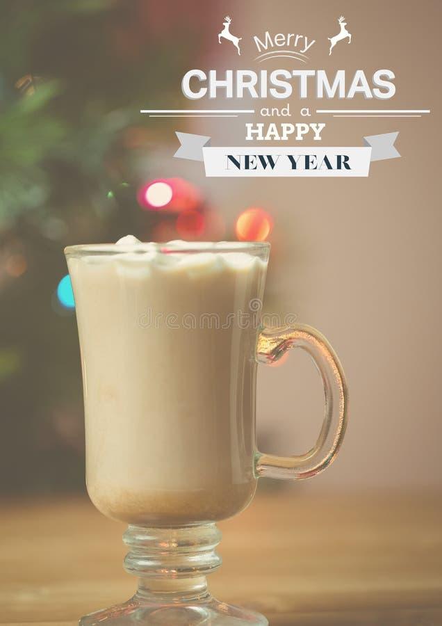Zusammengesetztes Bild Digital von Wünschen der frohen Weihnachten und des guten Rutsch ins Neue Jahr stock abbildung