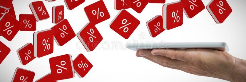 Zusammengesetztes Bild von bemannt die Hand, die digitale Tablette hält stockbilder